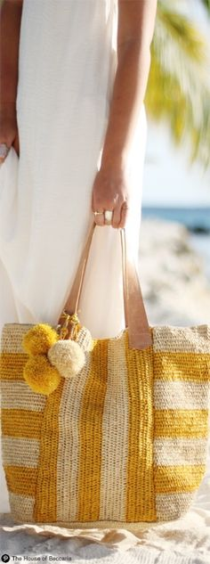 ~Mar Y Sol White And Mustard Raffia Leather Strap Havana Tote | House of Beccaria#