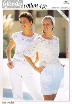 3901W  ladies summer top  crochet summer wear  for ladies vintage pattern PDF instant download