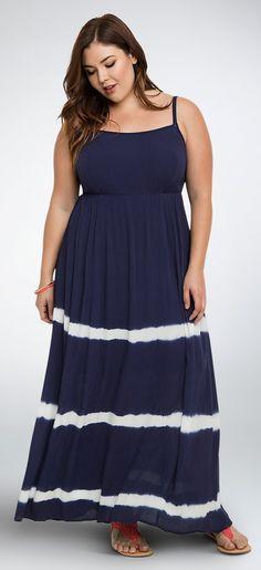 Plus Size Tie Dye Gauze Maxi Dress