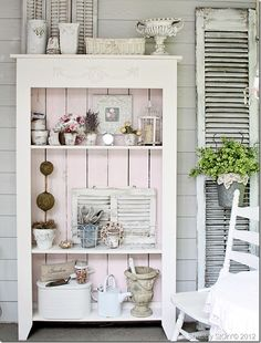 shabby chic pink garden cabinet