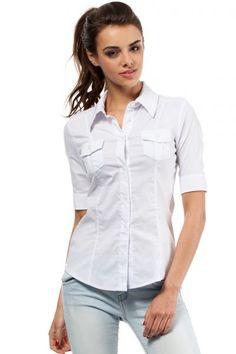 Biała koszula damska z kołnierzykiem