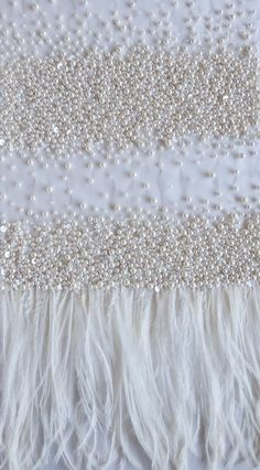 Haute Couture fabric Hand embroidered pearls and feathers in Couture Beading, Couture Embellishment, White Embroidery, Ribbon Embroidery, Couture Details, Fashion Details, Haute Couture Gowns, Couture Fashion, Paisley