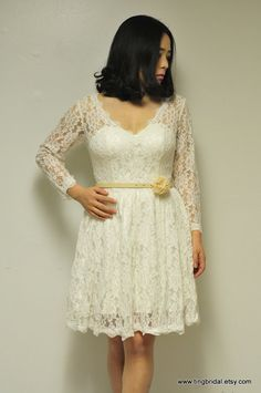 DonaCustom Short Lace Wedding Dress with long by TingBridal, $499.00