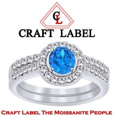 """1/3 Ct Round Cut Blue Topaz 14K Gold Halo Engagement Ring """"Mother\'s Day Gift"""". Starting at $1"""