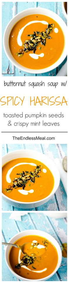 Harissa and Roasted Butternut Squash Soup with Toasted Pumpkin Seeds ...
