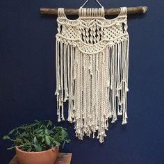 Contemporary Macramé Wall Hanging with Fringe Neutral by fishwarp