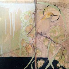 Blackheaded Honeyeater and Acacia artist: dana kinter Circle Art, Painting Photos, Australian Artists, Drawings, Nature Art, Painting, Illustration Art, Artist Sketchbook, Art