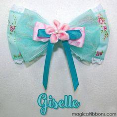 Giselle Enchanted, Disney Enchanted, Disney Hair Bows, Halloween Hair Bows, Disney Inspired Fashion, Teal Flowers, Handmade Hair Bows, Hallmark Cards, Light Teal