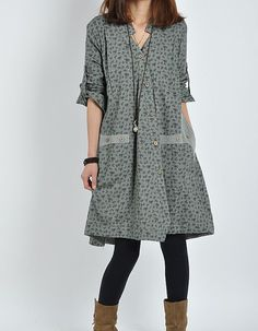 Army Green cotton dress long sleeve dress by originalstyleshop, $59.00