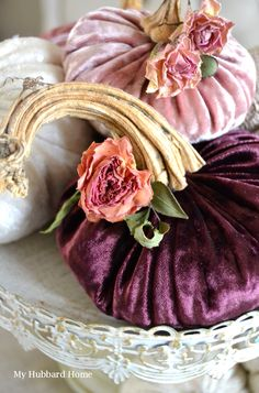 3 Easy Tips To Creating Beautiful Velvet Pumpkins Velvet Pumpkins, Fabric Pumpkins, White Pumpkins, Fall Pumpkins, Pumpkin Stem, Diy Pumpkin, Pumpkin Crafts, Pumkin Decoration, Holiday Decorations