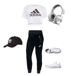 """Untitled #46"" by minea-dogo on Polyvore featuring NIKE, Topshop, Converse, adidas and plus size clothing"