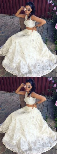 Two Piece Prom Dress, Lace Prom Dress, White Senior Prom Dress #prom #dress #promdress