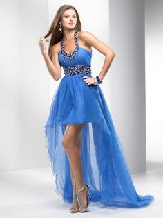 A-line Halter Keyhole Neckline Beaded Straps Waistband High Low Tulle Prom Dress-sop0062, $219.95