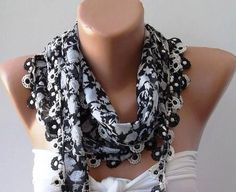 Black  Grey and White Shawl / Scarf with Lace Edge by SwedishShop, $15.90