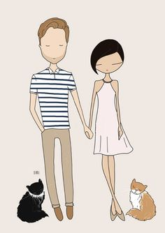 Custom couple portrait, bespoke couple illustration, custom portrait by Blankaillustration
