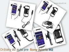 Nové držiaky do auta pre Sony Xperia M2. Pasívny držiak Brodit pre pevnú montáž v aute, aktívny s CL nabíjačkou, s USB alebo s Molex konektorom.