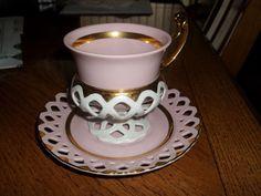 Antique WWII era H&C TEA CUP & SAUCER Haas & Czjzek Reticulated Porcelain CZECH #HCHaasCzjzek