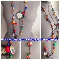 Collar artesano de abalorios, lazos y cola de ratón. www.iresingrapas.blogspot.com.es