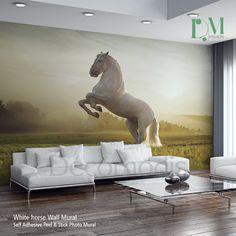 White horse Wall Mural, Wild horse Self Adhesive Peel