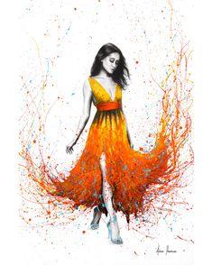 Electric Flame Art Print by Ashvin Harrison - Fy Abstract Canvas Art, Canvas Art Prints, Fine Art Prints, Canvas Artwork, Ballerina Art, Ballet Art, Ballerina Painting, Dot Painting, Flame Art