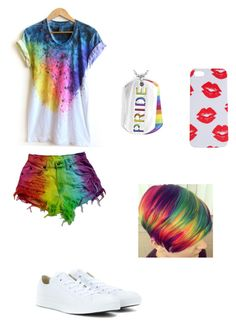 """Vee's LGBT Pride Outfit"" by veeorvixy on Polyvore featuring West Coast Jewelry, Converse and Lyla Loves"