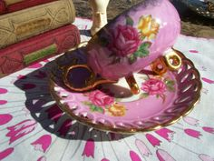 Hot Pink Teacup and Saucer with Roses and by AuntMaysBoutique