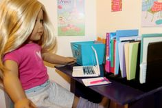 Super Easy ~ AG Table or Desk ~ How to make an American Girl Doll Wood T...