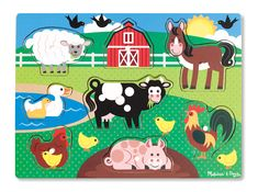 Melissa and Doug Farm Peg Puzzle Wooden Toddler Jigsaw Suit 2 Years + 8 Pieces. Buy Quality Toys Online From Green Ant Toys Online. Online Toy Stores, Toys Online, Wooden Pegs, Wooden Puzzles, Ri Happy, Toy Barn, Non Toy Gifts, Puzzles For Toddlers, Farm Toys
