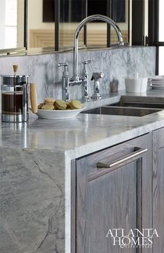 Waterfall Edge Countertop, Contemporary, Kitchen, Atlanta Homes & Lifestyles