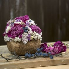 Dried flowers bouquet, coconut shell, peonies Dried Flower Bouquet, Dried Flowers, Coconut Shell, Peonies, Vase, Vegetables, Food, Home Decor, Flower Preservation