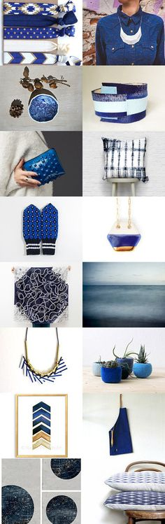 BLUE by twomoons on Etsy--Pinned with TreasuryPin.com includes our blue hexagon necklace @ www.ashjewelrystudio.com