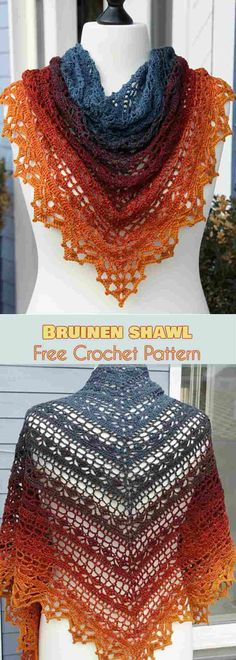 crochet shawl free This beautiful shawl was designed by Jasmin Rsnen. It is one of those projects you will wear all year long. The shawl is about ' x x in size, so it can cover your back during a summer evening chill. As you can see in the photos, it Crochet Shawl Free, Crochet Shawls And Wraps, Crochet Scarves, Crochet Baby, Crochet Summer, Lace Shawls, Knit Shawls, Crochet Mandala, Crochet Afghans