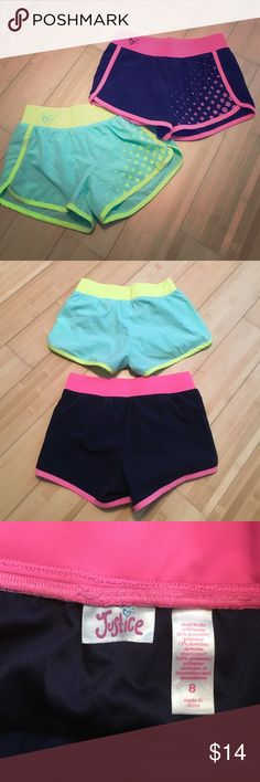 Justice girls athletic shorts These shorts have been worn a few times. The yellow and blue ones have two small stains on the front left bottom. No rips though. Blue and pink shorts have no stains or rips. Both comfortable and cute. In good condition! Justice Bottoms Shorts