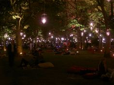Lights in the trees and comfy seating at this Liberty Island #wedding @evelynhillinc #ww