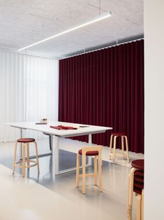 Artek moves its headquarter to new premises in central Helsinki, creating an open, active and inspiring environment for a new way of working. Artek's. Bold Curtains, Colorful Curtains, Helsinki, Vitra Furniture, Steel Shelving, Office Chair Without Wheels, Workplace Design, Soft Seating, Floor Finishes