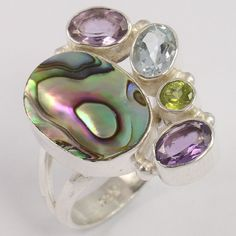 Natural ABALONE SHELL & OTHER Gems 925 Sterling Silver Handcrafted Ring Sz US 7 #Unbranded