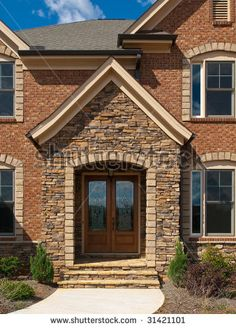 Stone Front Homes 21 cool blue front doors for residential homes | dark wood