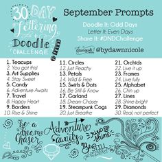 30 Day Challenge: September Prompts. 30 Days of Hand-Lettering and Doodles!| dawnnicoledesigns.com Dawn Nicole, Doodle Lettering, 30 Day Challenge, Your Search, Prompts, Journalling, Challenges, September, Doodles