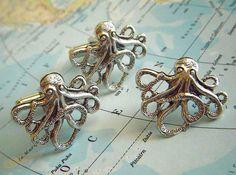 Octopus Cufflinks & Tie Tack Set of 3  Original by CosmicFirefly, $38.00