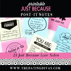 Printable Post-It Love Notes! Did you know you can print on post-its, you can! notes Printable Love Sticky Notes For Him or Her - The Dating Divas Bullet Journal Ideas Templates, Romantic Notes, Romantic Ideas, Dating Divas, Love My Husband, Lovey Dovey, Dating Quotes, Dating Advice, Love Notes