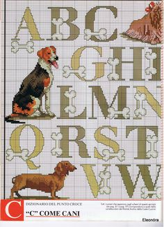 Dogs & bones X-stitch alphabet 1 of 2 Cross Stitch Letters, Beaded Cross Stitch, Cross Stitch Samplers, Cross Stitch Animals, Cross Stitch Charts, Cross Stitch Designs, Cross Stitching, Cross Stitch Embroidery, Embroidery Alphabet