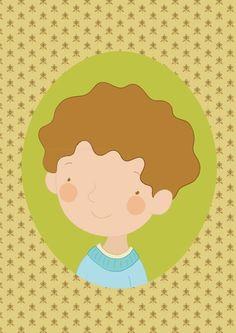 gutt portrett A4 Signert trykk Family Illustration, Tweety, Barn, Illustrations, Fictional Characters, Kunst, Converted Barn, Illustration, Fantasy Characters