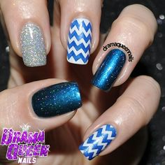 Geometric and glitter by dramaqueennails. Stamped with BM CYO set. The glitter is CG Glistening Snow.