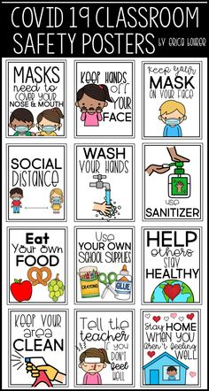 Covid 19 Classroom Safety Posters: Don't Touch Your Face / Keep Your Hands off Your Face Wash Your Hands Use Sanitizer Keep Your Mask on Your Face Masks Need to Cover Your Nose and Mouth Social Distance Tell the Teacher if You Don't Feel Well Keep Your Area Clean Eat Your Own Food / Don't Share Food Don't Share School Supplies / Use Your Own School Supplies Stay Home When You Aren't Feeling Well Help Others Stay Healthy Classroom Rules, Classroom Posters, Kindergarten Classroom, Future Classroom, Classroom Organization, Classroom Management, Classroom Board, Classroom Decor, School Nurse Office