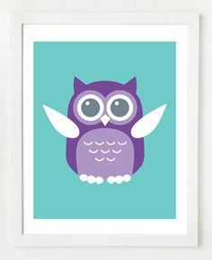 Owl Teal 8x10 Wall Art Print. $10.00, via Etsy.