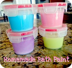 Mix 1 cup body wash, 4 tbsp corn starch, and just 1 drop food coloring.