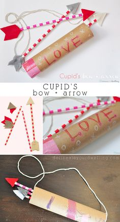 Cupid's Bow and Arrow craft, so fun to create with your children!  Delineateyourdwelling.com
