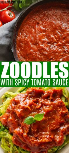 Zoodles with Spicy Tomato Sauce is an easy low carb flavorful dish that is perfect for those who are trying to keep the carbs down, but the flavors popping. This homemade spicy tomato sauce has the perfect kick along with a tasty bacon flavor. #Keto #lowCarb #Bacon #Zoodles #Zucchini #Noodles #Sauce #Recipe #MidgetMomma