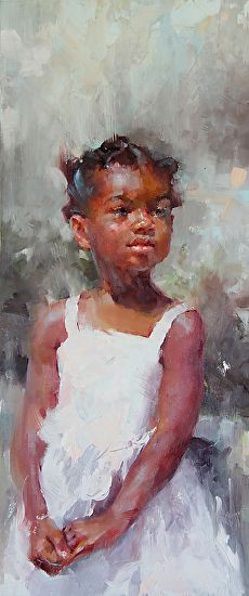 """Heart of Content"" - Michael Maczuga, oil on panel {figurative african-american black girl painting}"
