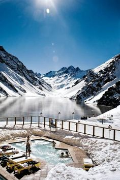 Portillo #Pool. Swimming above the Lake of the Incas provides an incredibly scenic place to relax after a day on Portillo's Slopes. Ski #Portillo, Chile.